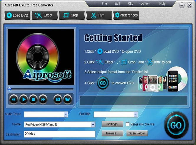 Aiprosoft DVD to iPod Converter Screenshot 1
