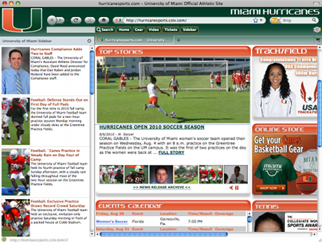 Miami Hurricanes IE Browser Theme Screenshot