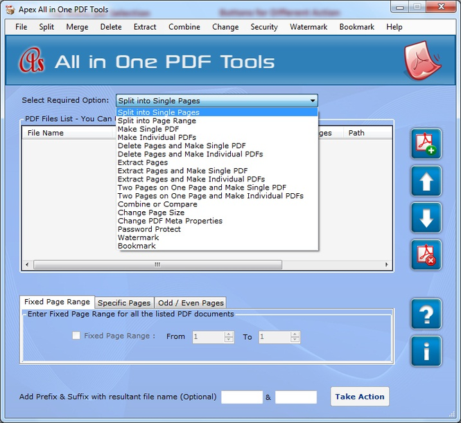 PDF Splitter Merger Tool Screenshot