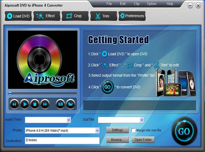Aiprosoft DVD to iPhone 4 Converter Screenshot 1