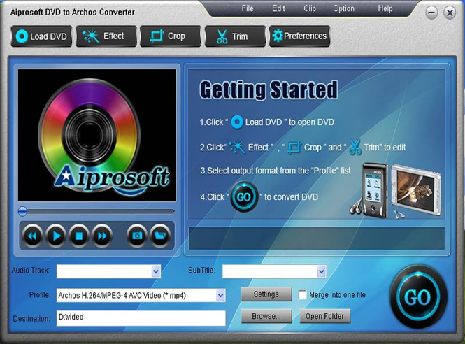 Aiprosoft DVD to Archos Converter Screenshot