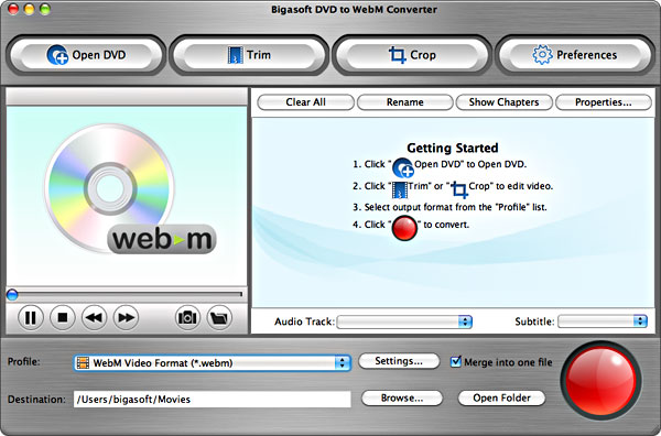 Bigasoft DVD to WebM Converter for Mac Screenshot