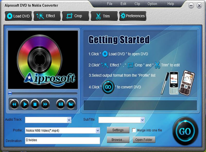 Aiprosoft DVD to Nokia Converter Screenshot 1