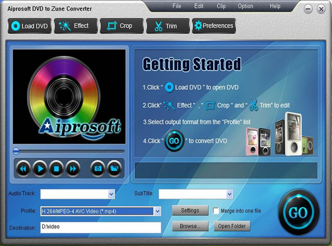 Aiprosoft DVD to Zune Converter Screenshot