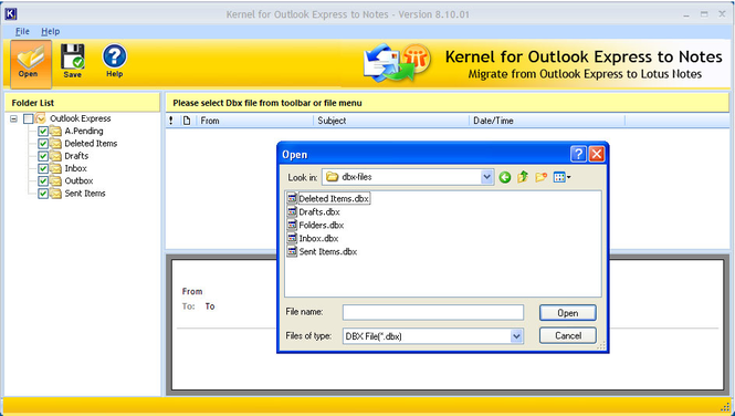 Outlook Express to Notes Screenshot