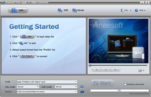 Aneesoft Free Apple TV Video Converter Screenshot 1