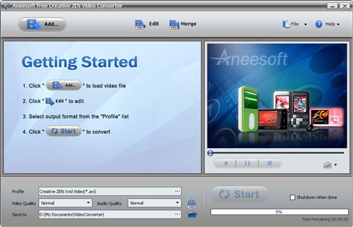 Aneesoft Free Creative ZEN Video Converter Screenshot