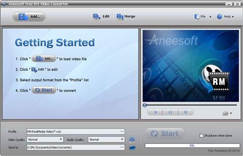 Aneesoft Free RM Video Converter Screenshot 1