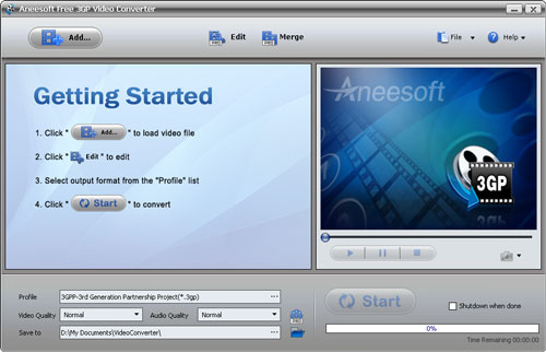 Aneesoft Free 3GP Video Converter Screenshot 1