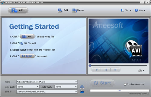 Aneesoft Free AVI Video Converter Screenshot