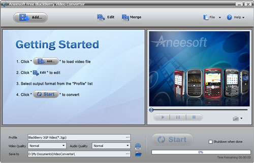 Aneesoft Free BlackBerry Video Converter Screenshot 1