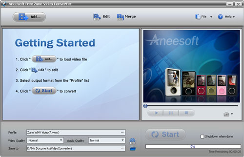 Aneesoft Free Zune Video Converter Screenshot