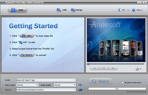 Aneesoft Free Nokia Video Converter Screenshot
