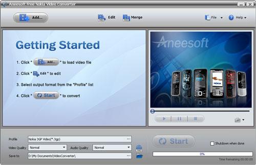 Aneesoft Free Nokia Video Converter Screenshot 1