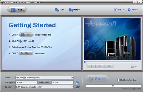 Aneesoft Free PS3 Video Converter Screenshot 1