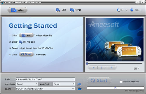 Aneesoft Free PSP Video Converter Screenshot 2