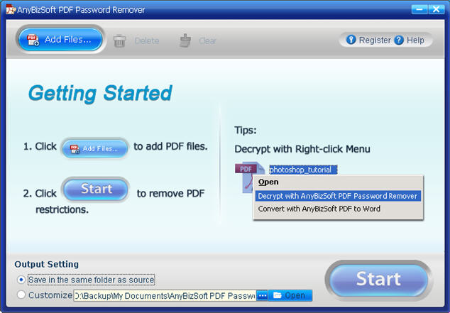 AnyBizSoft PDF Password Remover Screenshot