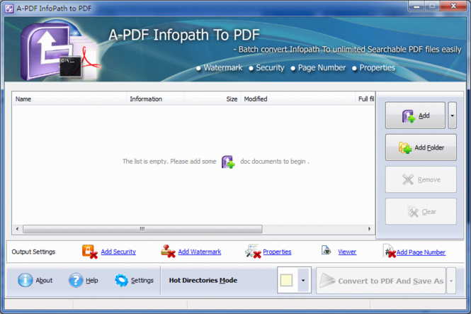 A-PDF InfoPath to PDF Screenshot