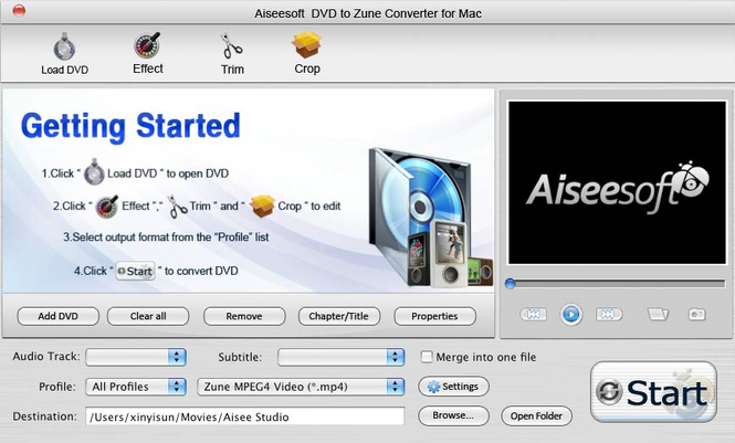 Aiseesoft DVD to Zune Converter for Mac Screenshot