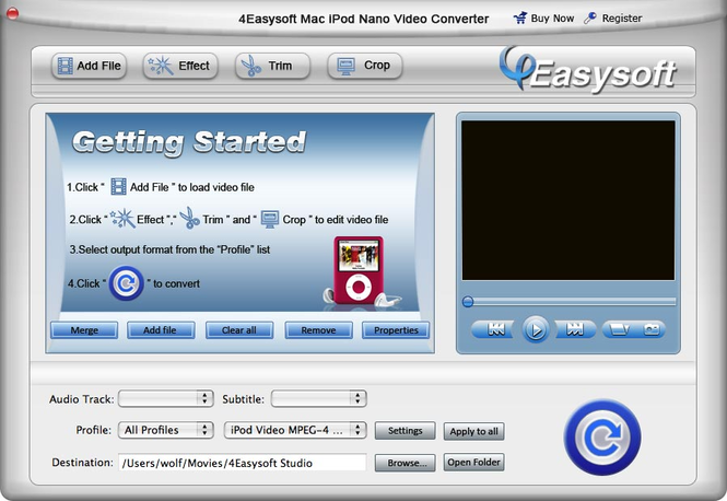 4Easysoft Mac iPod nano Video Converter Screenshot