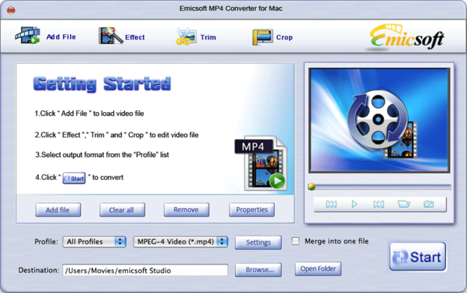 Emicsoft MP4 Converter for Mac Screenshot 1