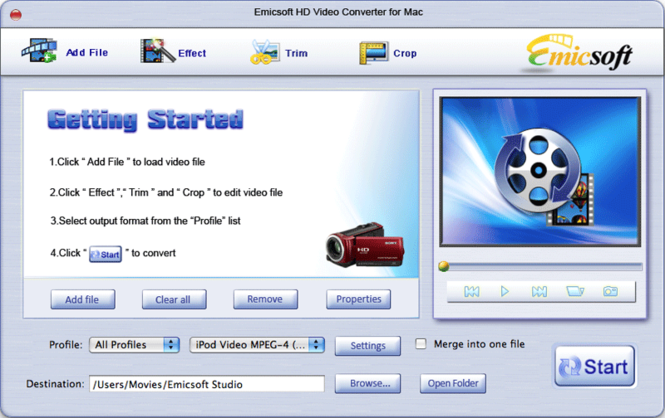 Emicsoft HD Video Converter for Mac Screenshot