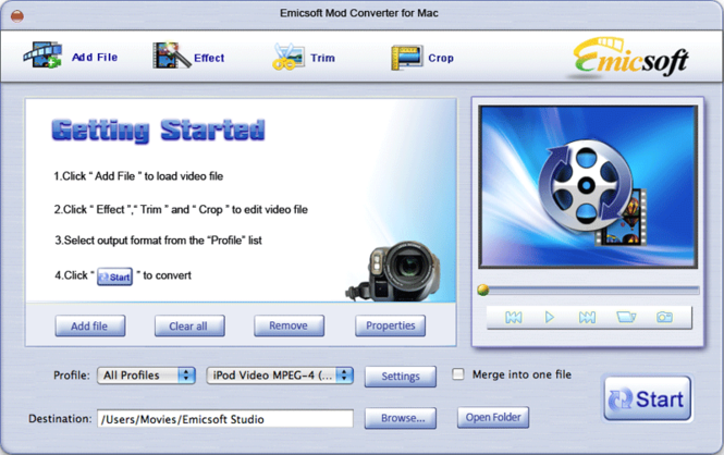Emicsoft Mod Converter for Mac Screenshot