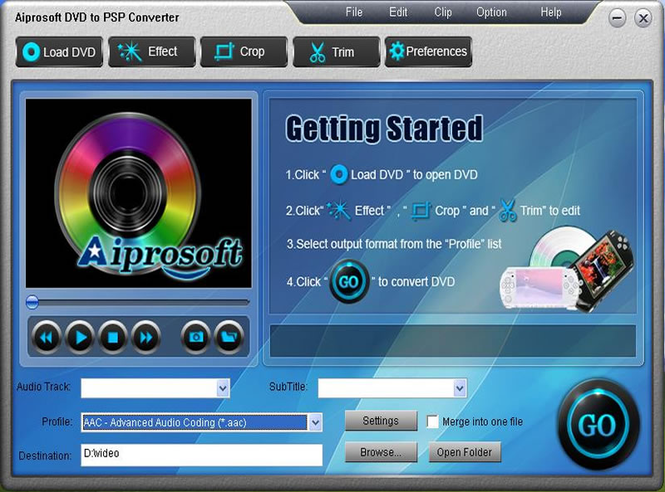 Aiprosoft DVD to PSP Converter Screenshot 1
