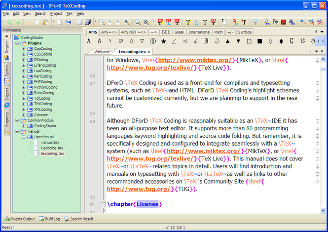 DForD TeXCoding Screenshot