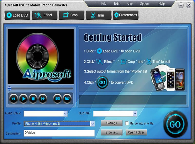Aiprosoft DVD to Mobile Phone Converter Screenshot