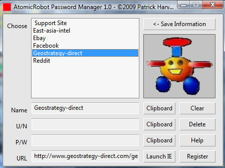 AtomicRobot Password and Link Manager Screenshot