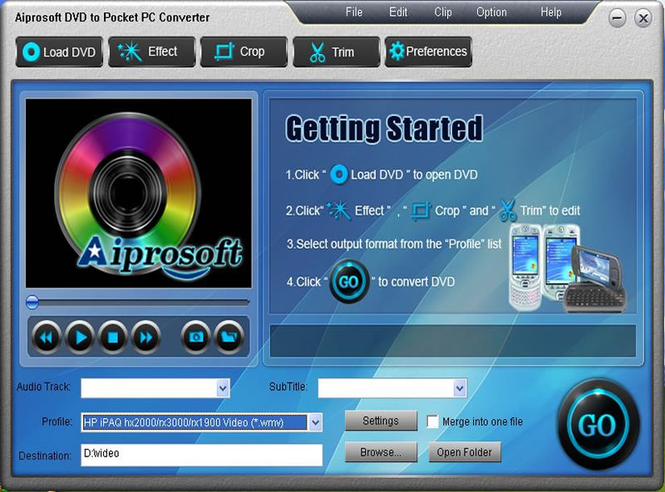 Aiprosoft DVD to Pocket PC Converter Screenshot 1
