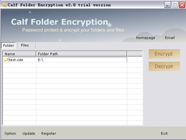 Calf Folder Encryption Screenshot