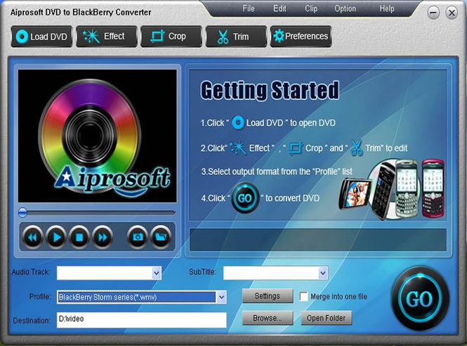Aiprosoft DVD to BlackBerry Converter Screenshot