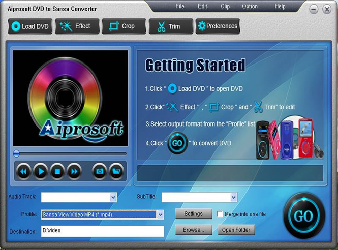 Aiprosoft DVD to Sansa Converter Screenshot