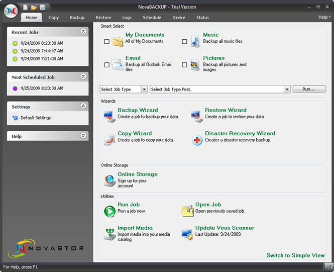 NovaBACKUP Business Essentials Screenshot