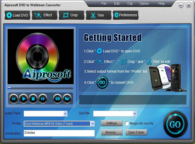 Aiprosoft DVD to Walkman Converter Screenshot 1