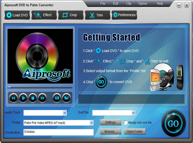 Aiprosoft DVD to Palm Converter Screenshot