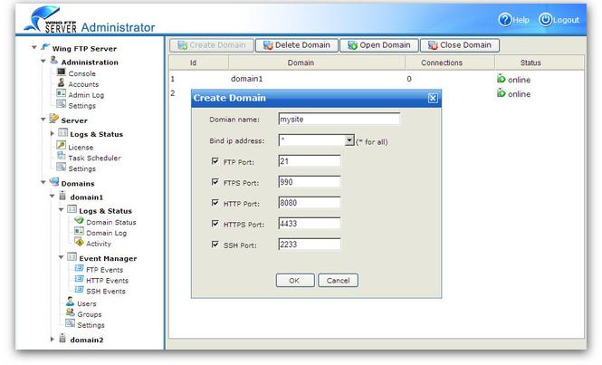 Wing FTP Server For Solaris(Sparc) Screenshot 1