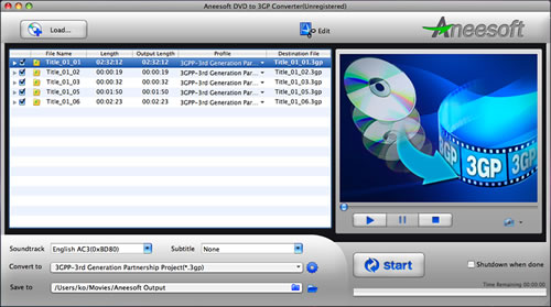 Aneesoft DVD to 3GP Converter for Mac Screenshot