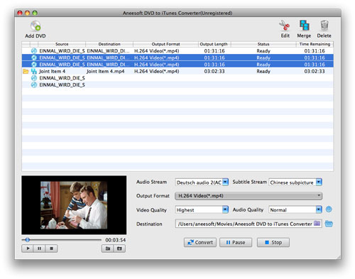 Aneesoft DVD to iTunes Converter for Mac Screenshot 1