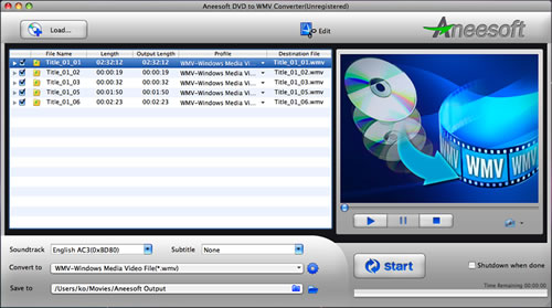 Aneesoft DVD to WMV Converter for Mac Screenshot