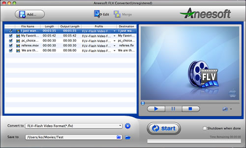 Aneesoft FLV Converter for Mac Screenshot 1