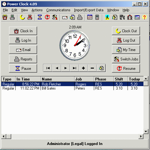 Power Clock Additional Employees (annually) Screenshot