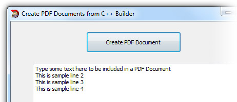 Create PDF documents from C++ Builder 2009 and later Screenshot 1