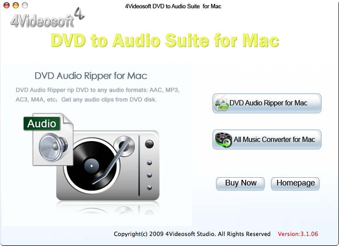 4Videosoft DVD to Audio Suite for Mac Screenshot