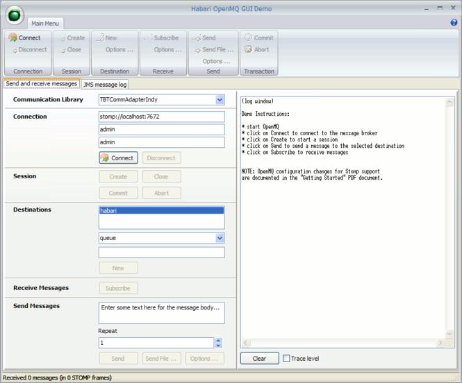 Habari OpenMQ Client Screenshot