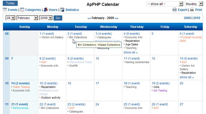 ApPHP Calendar - PHP Calendar Script Screenshot 1