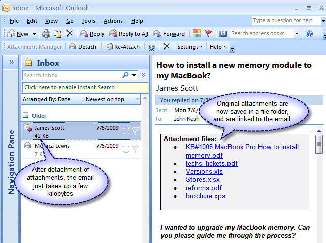 Attachment Manager for Outlook Screenshot