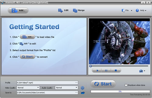 Aneesoft MKV Converter Screenshot 1